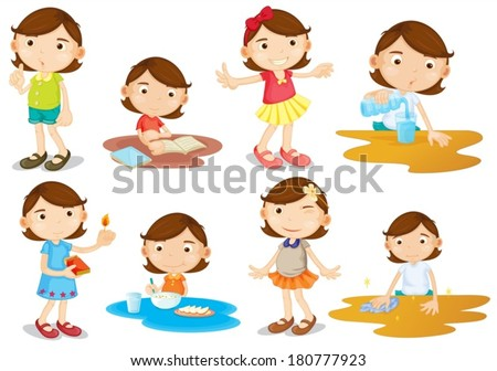 Illustration of a young girl's daily activities on a white background - stock vector