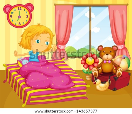 Illustration of a young girl waking up - stock vector