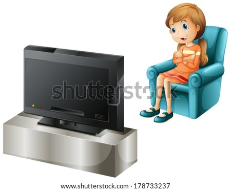 Illustration of a young girl watching TV happily on a white background - stock vector