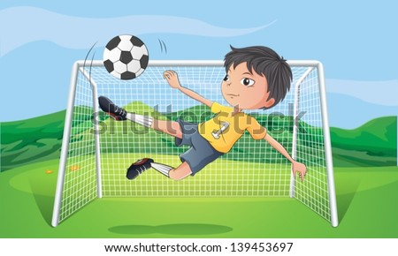 Illustration of a young man playing football - stock vector