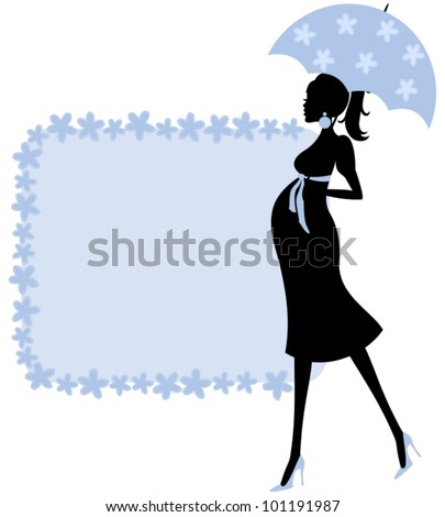 Illustration of a young pregnant woman and a cute floral frame in blue. Perfect for baby shower invitation. - stock vector