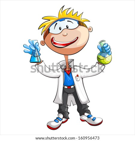 Illustration of a young scientist - stock vector
