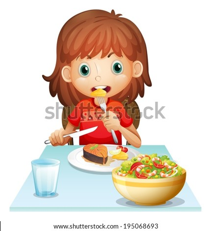 Illustration of a young woman eating lunch on a white background - stock vector
