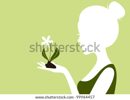 Illustration of a young woman holding soil and a flower in her hand. - stock vector