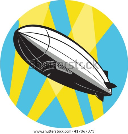 Illustration of a zeppelin blimp flying overhead set inside circle done in retro style.  - stock vector