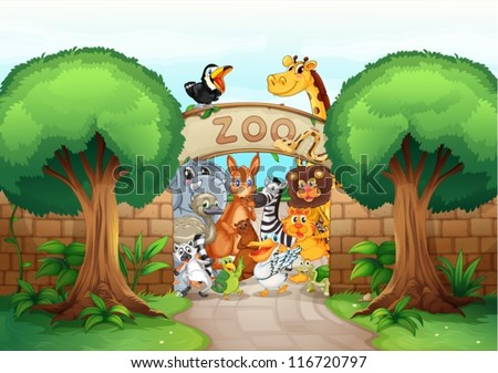 illustration of a zoo and animals in a beautiful nature - stock vector