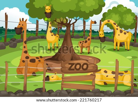 illustration of a zoo and giraffe vector - stock vector