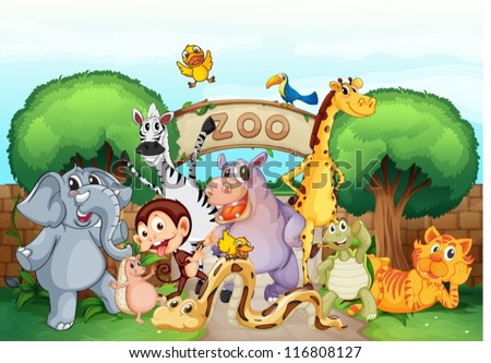 illustration of a zoo and the animals in a beautiful nature - stock vector