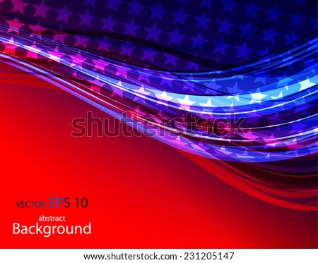 Illustration of abstract American Flag - stock vector