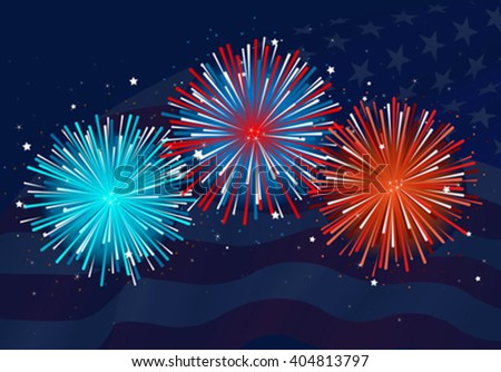 Illustration of abstract fireworks design  - stock vector