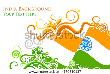 illustration of abstract floral Indian flag - stock vector