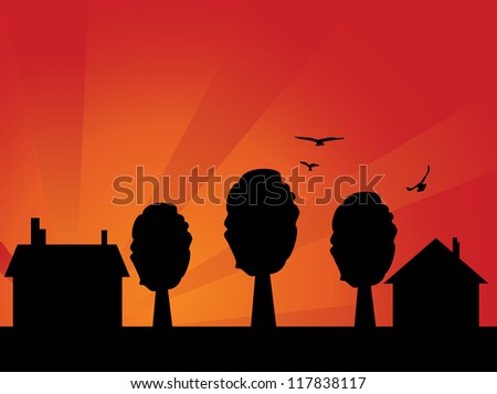 Illustration of abstract house silhouette with sunset sky background. - stock vector