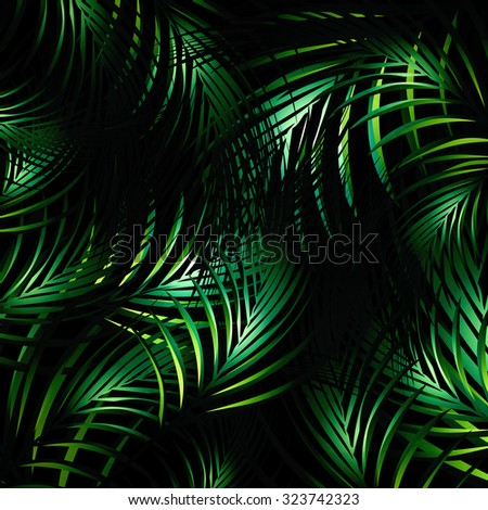 Illustration of Abstract Jungle Palm Leaves Night Background - stock vector
