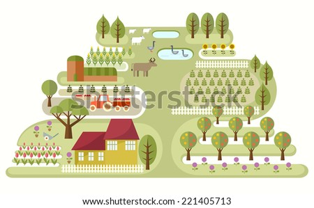 Illustration of abstract map of small farm, with various plants and animals. Travel theme series. Elements useful for agriculture infographic. Flat style. Vector file EPS8, all elements are grouped. - stock vector
