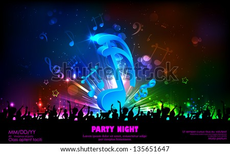 illustration of abstract musical note for party background - stock vector