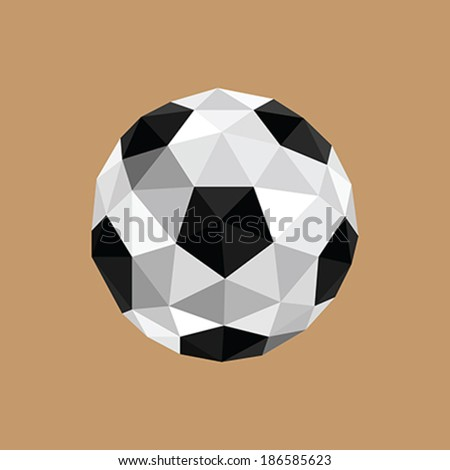 Illustration of abstract origami soccer ball - stock vector
