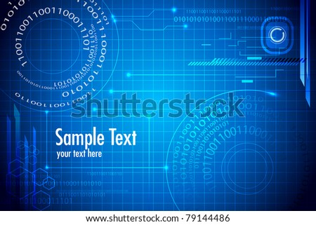 illustration of abstract techno binary background - stock vector