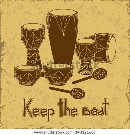 Illustration of African percussion drum set on a retro background - stock vector