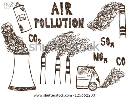 Illustration of air pollution doodle drawings on white background - stock vector