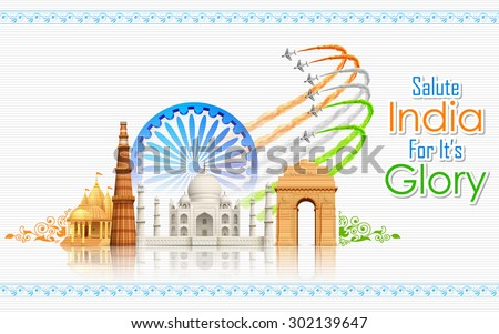 illustration of airplane making Indian flag on monument backdrop - stock vector