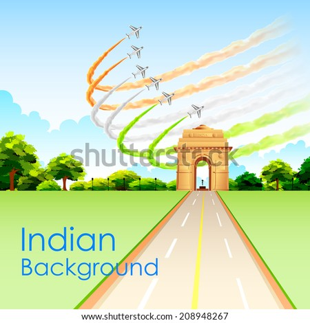 illustration of airplane making Indian tricolor flag around India Gate - stock vector