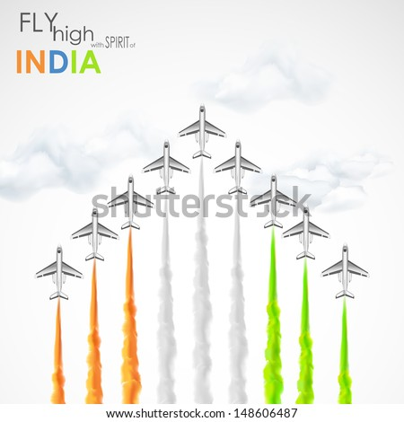 illustration of airplane making Indian tricolor flag in sky - stock vector