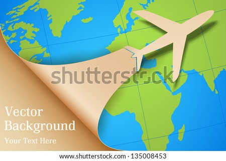 illustration of airplane taking off on Earth map - stock vector
