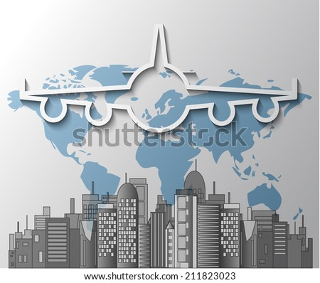 Illustration of airplane with city skyline on world map - stock vector