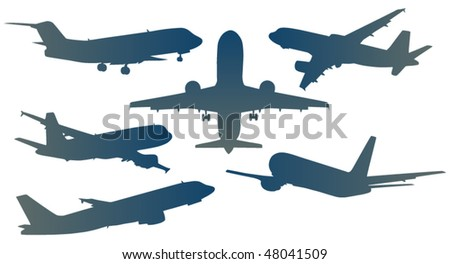 Illustration of airplanes - stock vector