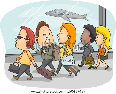 Illustration of Airport Passengers Walking With Luggage in Tow - stock vector