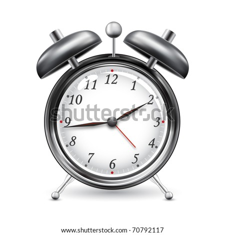 illustration of alarm clock on isolated white background - stock vector