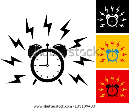 illustration of alarm clock ringing - stock vector