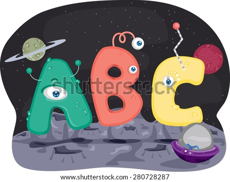 Illustration of Aliens Shaped Like Letters of the Alphabet - stock vector