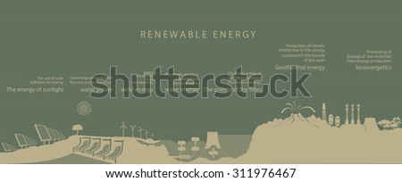 illustration of all kinds of renewable energy on the planet. the concept of ecology - stock vector