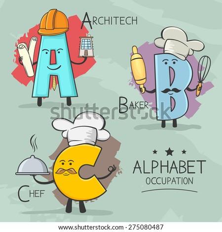 Illustration of alphabet occupation - Architect , Baker, Chef - stock vector
