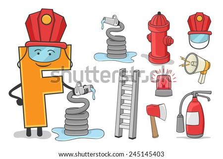 Illustration of alphabet occupation - Letter F for Fire Firefighter - stock vector