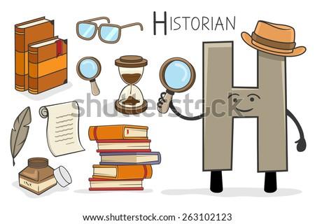 Illustration of alphabet occupation - Letter H for Historian - stock vector