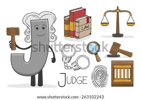 Illustration of alphabet occupation - Letter J for Judge - stock vector