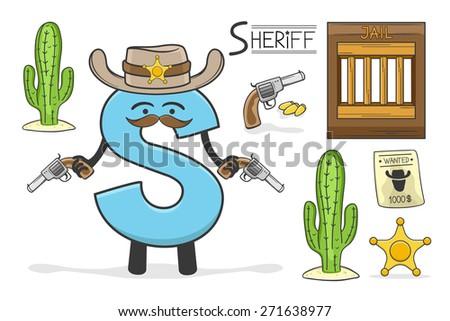Illustration of alphabet occupation - Letter S for Sheriff - stock vector