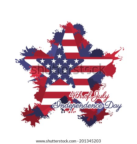 Illustration of American Independence Day of 4th July with stars on grungy flag - stock vector