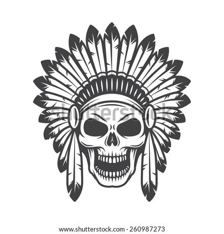 Illustration of american indian skull - stock vector