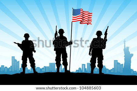 illustration of American soldier standing with flag on city backdrop - stock vector