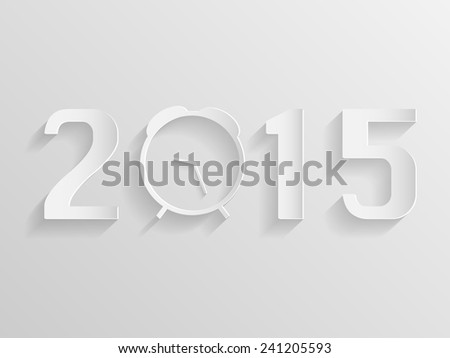 Illustration of an abstract clock with the year 2015. - stock vector