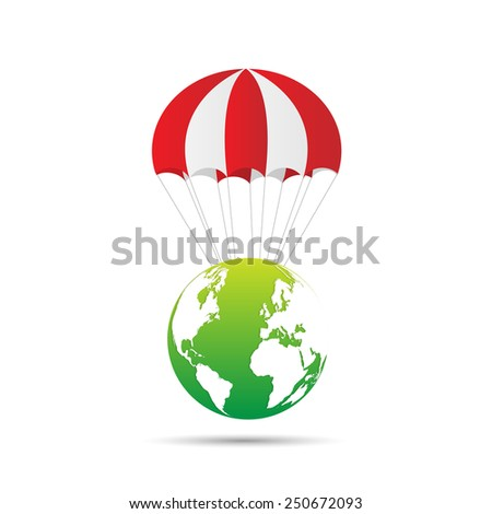 Illustration of an abstract earth design with parachute isolated on a white background. - stock vector