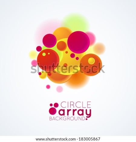 illustration of an abstract shapes with colorful circles - stock vector