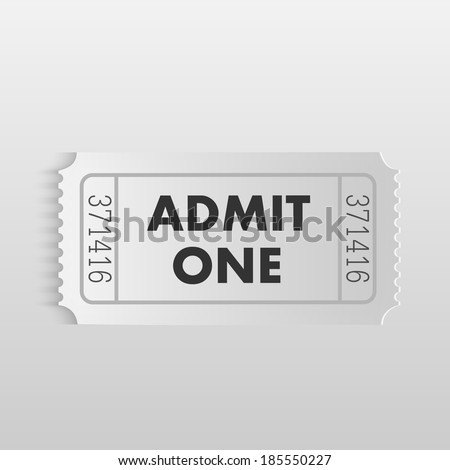 "Illustration of an ""Admit One"" ticket on a light background. - stock vector"