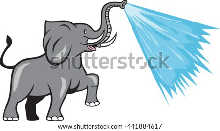 Illustration of an african elephant marching prancing spraying water from trunk viewed from the side set on isolated white background done in cartoon style.  - stock vector