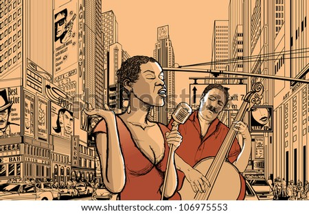 Illustration of an afro american jazz singer with double-bass player in a street of new york - stock vector