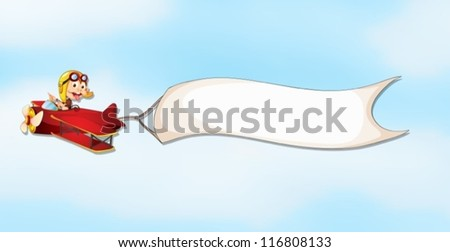 illustration of an air plane, a boy and a banner in the sky - stock vector