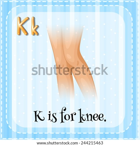 Illustration of an alphabet K is for knee - stock vector